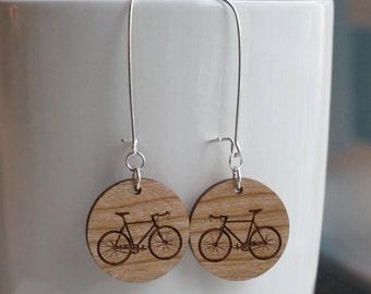 Wood Bike Earrings - Small Round Kidney Hook