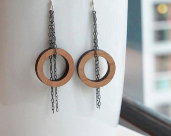Chain Earrings with Large Cherry Wood Circle