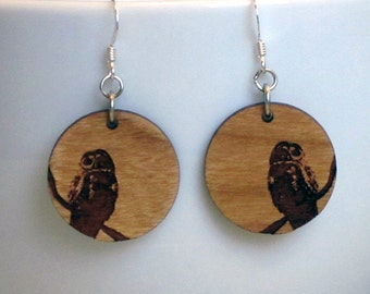 Owl Wood Earring, Small, Standard hook