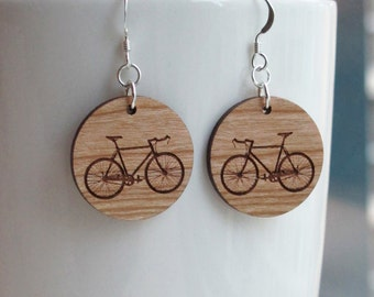 Wood Bike Earrings - Small Round Standard Hook