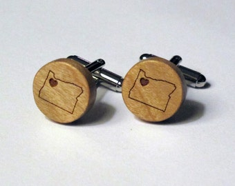 State Wood Cuff Links with Heart