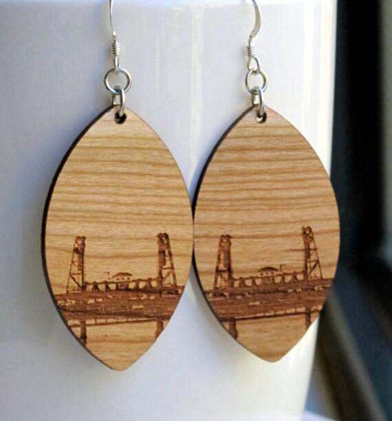 Steel Bridge Large Diamond Earrings