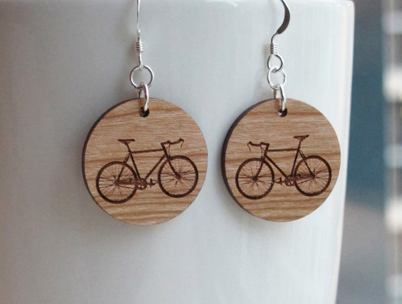 Wood Bike Earrings - Small Round Standard Hook