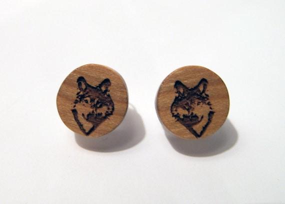 Wolf Post Earrings, Wood