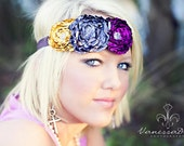 Royal Purple, Slate Gray & Mustard Yellow Flower Headband