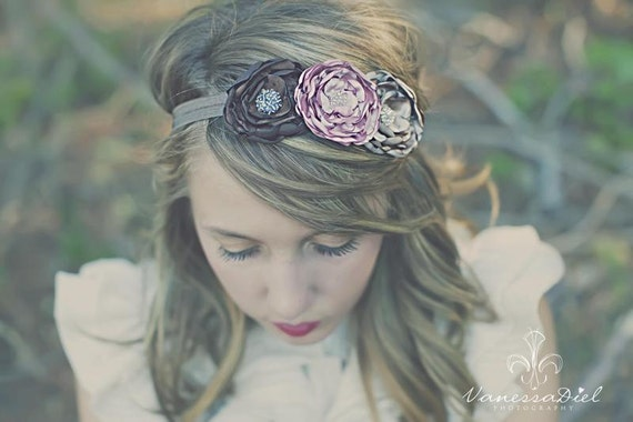Antique Pink, Chocolate Brown & Champagne Flower Headband