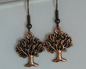 Copper Tree Earrings