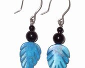 Turquoise leaves upcycled earrings