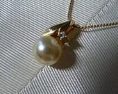 1980s Pearl Rhinestone Choker Necklace Cherry Drop
