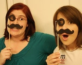 Monocle and Mustache on a Stick Bundle Pack of 4