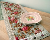 Quilted Table Runner Pink Roses