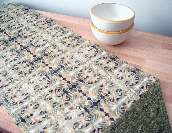 Quilted Table Runner Green Art Nouveau