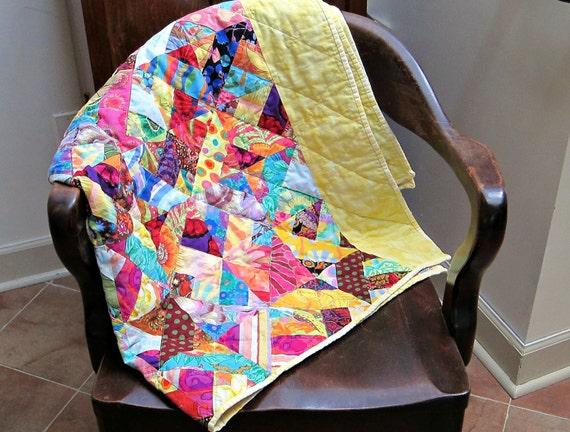 Modern Lap Quilt, Rainbow Quilt, Scrap Quilt, Kaffe Fassett, Sofa Quilt, Throw Quilt, Yellow Quilt