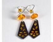 Sterling Silver Earrings with Amber and Crystals, Orange Primrose