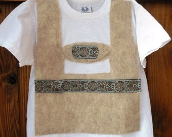 READY TO SHIP boy's Medium size 8 Oatmeal lederhosen T-shirt for Oktoberfest