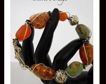 Bracelet-45 - OOAK, Wire  Wrapped, Sterling Silver, Charm