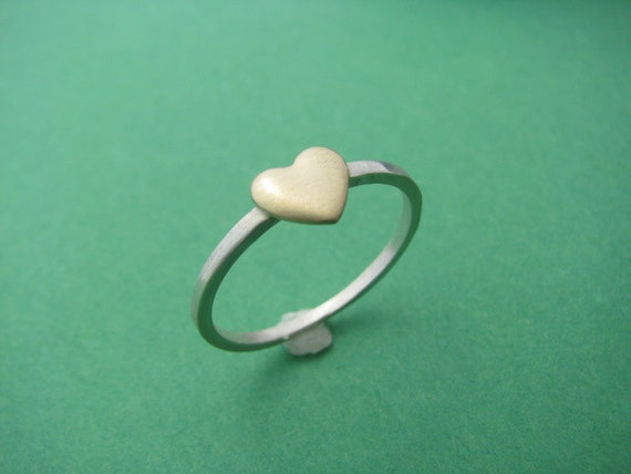 Peace of my Heart Everyday Sterling and Brass Stackable Ring Made to Order