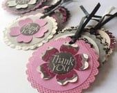 Thank You Tags, Purple Black and Gray Floral Handmade Tie On Gift Tags, Set of 12 ON SALE