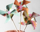 Pinwheel Cupcake Toppers, Tropical Garden Colors, Set of 6, Orange Aqua Pink