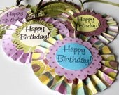 Birthday Gift Tags, Set of 5 Purple Aqua and Olive Green Tie On Tags, Happy Birthday, Handmade