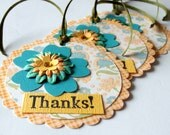 Gift Tags, Thank You, Set of 3, Flowers, Teal and Yellow Orange, Handmade Tie On Gift Tags