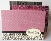 Thank You Note Cards Set of 3 Blank Purple Black and Cream Foil Embossed Cardstock Ribbon Embellished with Envelopes 5x7 Greeting Cards