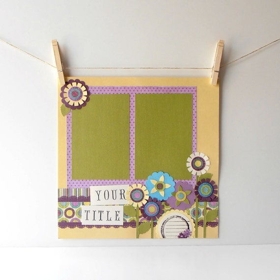 12x12 Premade Scrapbook Page for Girls Pastel Flower Garden in Purple Yellow and Olive Green, Custom Title