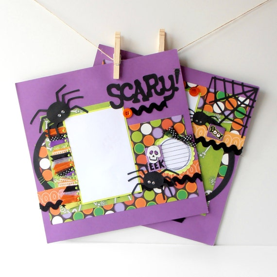 12x12 Premade Scrapbook Pages Kids Halloween 2 Page Spread Scary Spiders Purple Orange Green