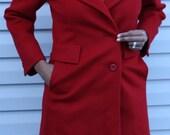 Summer Sale Vintage Red ILGWU Womens Wool Coat
