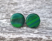 Green Polymer Clay Marbled Post Stud Earrings 1cm