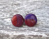 Purple and Red Polymer Clay Marbled Post Stud Earrings 1cm