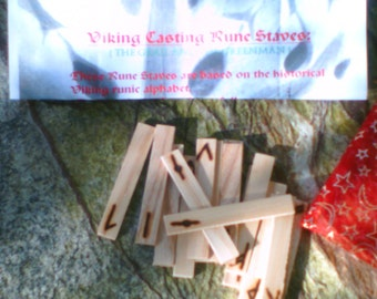Wooden Viking Casting Runes.