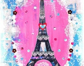 Paris art print vertical A4 mounted pink,blue,lace,french
