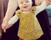 6-12 month Baby Girl Dress -Yellow & Turquoise Thistle Pattern with Mod Plaid lining - Vintage Brown Buttons - Baby Jumper
