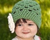 Flapper Style Green Hat Beanie with Ecru Flower - Baby Toddler Children