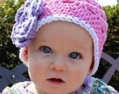 Baby Hat Beanie Pink with Purple Flower - Perfect for Newborn Baby/Toddler/Children