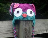 Owl Hat, Purple and Teal Blue Crochet  - Newborn/Toddler/Children