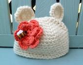 Newborn Sweet Honey Bear Hat Cream and Orange Teddy Bear Hat with Bee Newborn/Infant/Toddler  Teddy Bear Costume