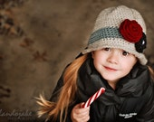 Girls Crochet Cloche Winter Hat in Grey Cranberry Red Black - Toddler Children Adult Sizes Available