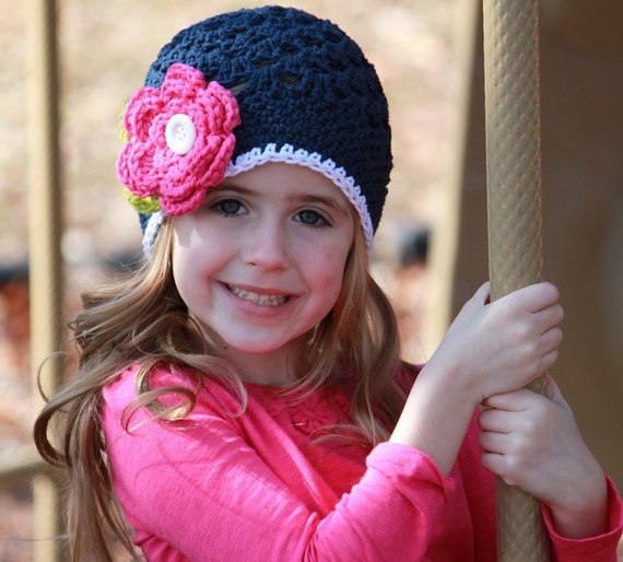 Girls Dark Blue Crochet Hat Beanie with Pink Flower and Green Leaves and White Button - Baby/Toddler/Children