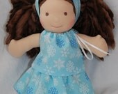 """50% Off....On Sale....Itty Bitty outfit for 8"""" & 9"""" Waldorf Dolls in Winter Snowflakes"""