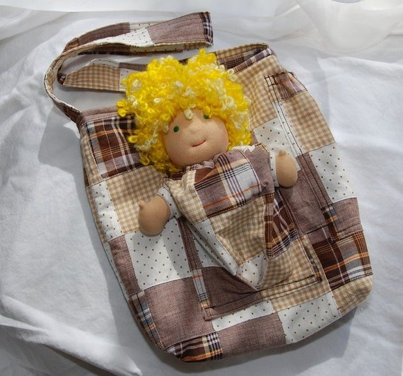 """Doll Pocket Tote in Brown Madras - a bag for kids that holds dolls 7"""" to 9"""""""