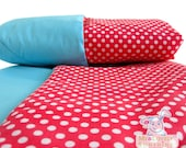 Red Polka Dot cotton Baby Blanket, Baby girl gift, baby stroller blanket. Easter holiday gift