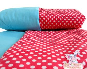 Red Polka Dot cotton Baby Blanket, Baby girl gift, baby stroller blanket. Easter holiday gift