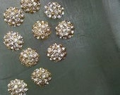 10 Pieces  Gold Metal Rhinestone Buttons Crystal Clear Rhinestone  Half Dome Buttons 21 mm