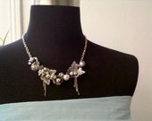 A One Of  The Kind  Streampunk Butterfly  Statement  Silver Plated Necklace