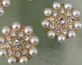 Gold Metal Rhinestone Buttons with Ivory Pearls,  10  Pieces,  23 mm Bridal Embellishment