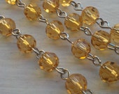 36 Inches 6 mm  Faceted Round Transparent  Topaz  Glass Beaded Rosary Chain Links,