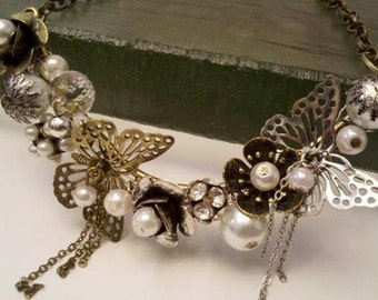 One Of The Kind Brass Statement Butterfly Steampunk Necklace