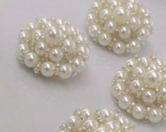 3 Large  Pearl  Beaded  Buttons . Bridal Embellishment